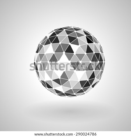 Abstract technology background. Freestanding polygonal sphere with shadow. - stock vector