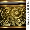 Abstract technology background gold machinery, vector. - stock photo