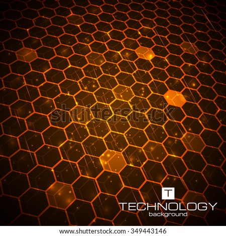 Abstract technology background, hexagonal template. Vector illustration for your business artwork. - stock vector