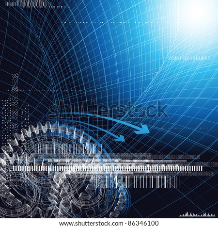 Abstract technology background. Only gradients used. - stock vector