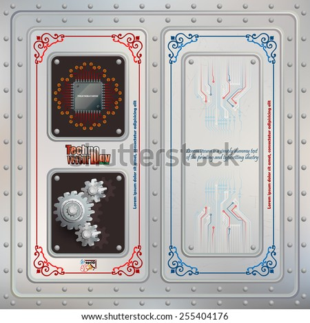 Abstract technology background; Processor Chip  and cogwheels riveted in a metallic slot, two of symbols of technology; Scratched steel boards tied together with many rivets; Electronic circuits.  - stock vector