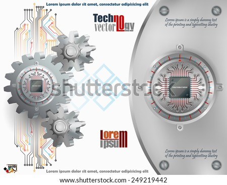 Abstract technology background;Processor Chip attached to circular metallic device with gradations nailed to cogwheels and steel board with screws.  - stock vector