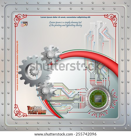 Abstract technology background;Processor Chip attached to metallic device and connected with circuit board; Steel boards tied together with many rivets . Ornamental frame.  - stock vector