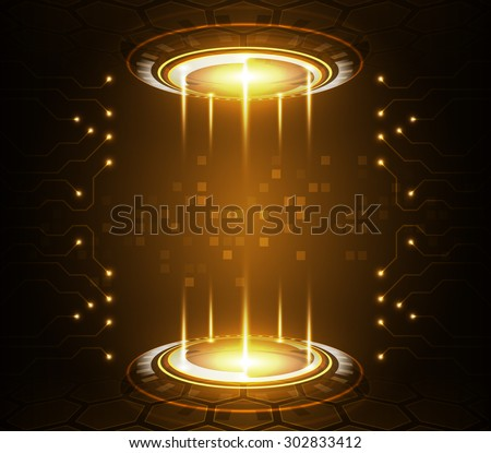 Abstract technology background, vector illustration with digital glowing symbols - stock vector