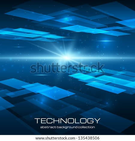 Abstract technology background with bright flare. Vector illustration. - stock vector