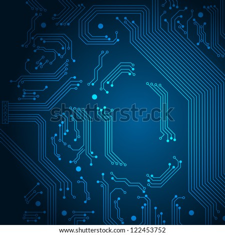 Abstract technology background with circuit board elements. Vector illustration with space for your text.