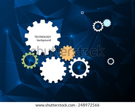 Abstract Technology background with gear wheel - stock vector