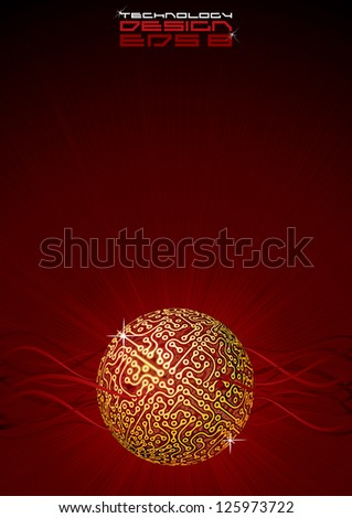 Abstract Technology Background with Hi Tech Globe. Vertical Vector Template with Free Space for Your Text - stock vector