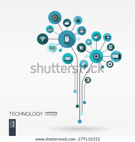Abstract technology background with lines, connected circles, integrated flat icons. Growth flower (circuit) concept with technology, cloud computing and router icons. Vector interactive illustration. - stock vector