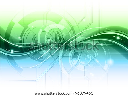 abstract technology background with the blue and green gradient - stock vector