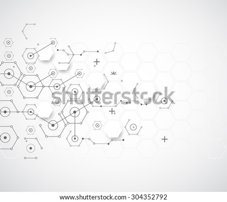 Abstract technology background with various technological elements. Vector