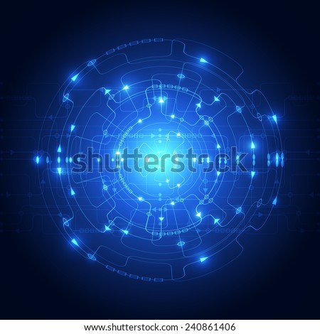 Abstract technology blue background. Vector illustration. - stock vector