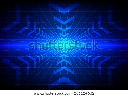 abstract  technology blue light effect and  arrow  background - stock vector
