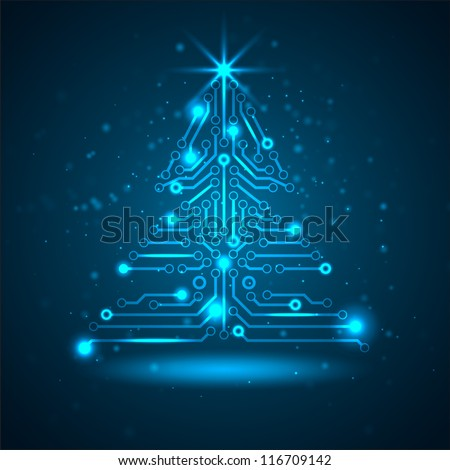 Abstract technology Christmas tree. Vector illustration. - stock vector