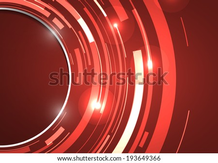 Abstract technology circles vector on red background - stock vector