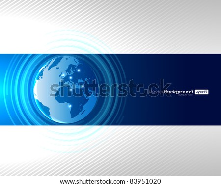 Abstract Technology Circles with Globe - EPS10 Vector Design - stock vector
