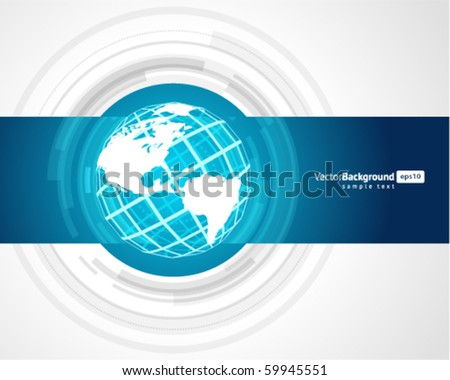 Abstract technology circles with wire globe vector background - stock vector