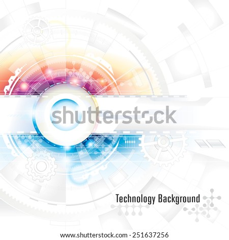 Abstract technology composition background in blue and red. - stock vector