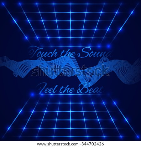 """Abstract technology design. Retro disco stage with waving digital equalizer (sound wave) and text """"Touch the sound, Feel the beat"""". Vector illustration - stock vector"""
