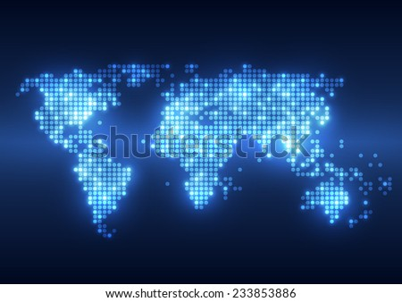 Abstract technology digital backgrounds with world map - stock vector