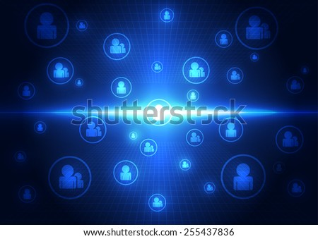 abstract technology social network concept background, vector illustration - stock vector