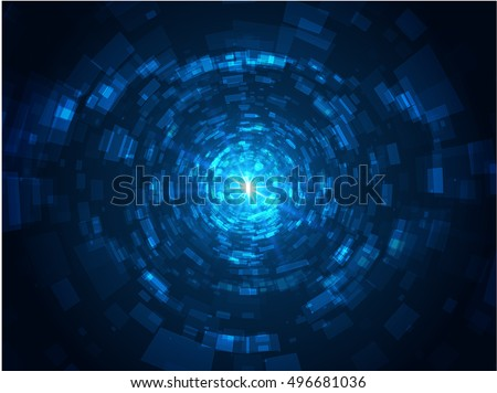 Abstract Technology Tunnel with Light at the End. 3D tunnel grid. Vector Abstract Digital Illustration.