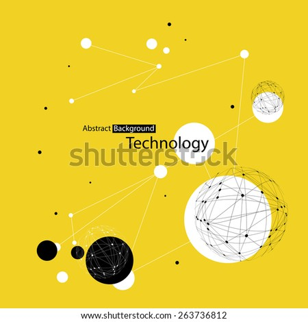 Abstract Technology Yellow Background - stock vector