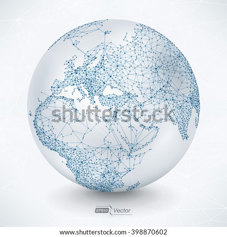 Abstract Telecommunication Earth Map - Europe, Mid-East, Asia, Africa - stock vector