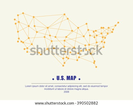 Abstract telecommunication USA. map with circles, lines and gradients - Detailed EPS10 vector design - stock vector
