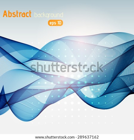 Abstract template background with blue curved wave