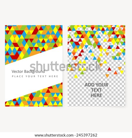 Abstract  template geometric flyer with color triangles. Design element