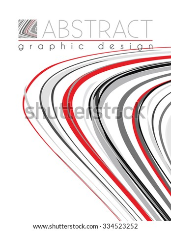 Abstract template of page with black, red and gray stripes. Vector graphic design layout - stock vector