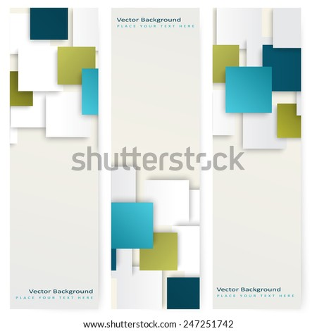 Abstract template vertical banner with color squares - stock vector