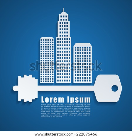 Abstract template with house and key on blue background - stock vector