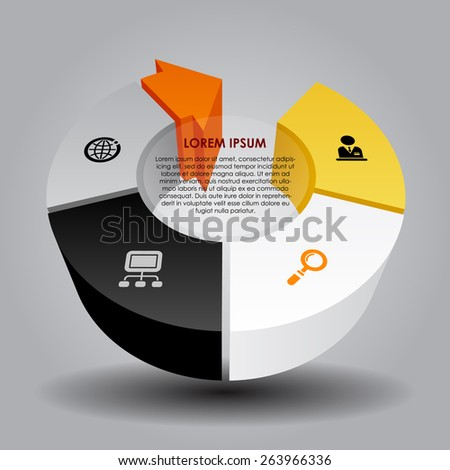 Abstract template with round and arrow. Vector illustration - stock vector