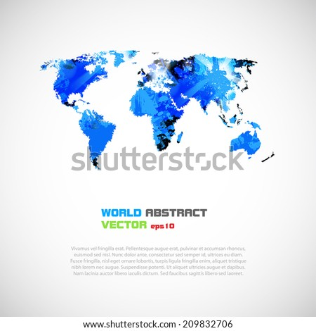 Abstract template with world map, easy editable - stock vector