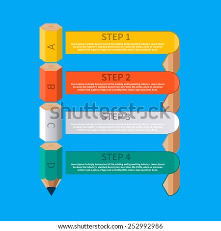 Abstract text banner with pencil and ribbons for your creative presentation. Business education pencil staircase infographics option - stock vector