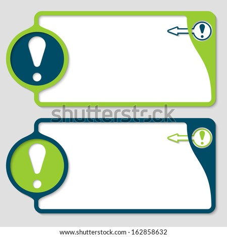 abstract text boxes with exclamation mark and arrow - stock vector