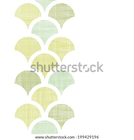 Abstract textile green fishscale vertical seamless pattern background - stock vector