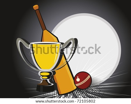abstract texture background with bat, ball and trophy - stock vector