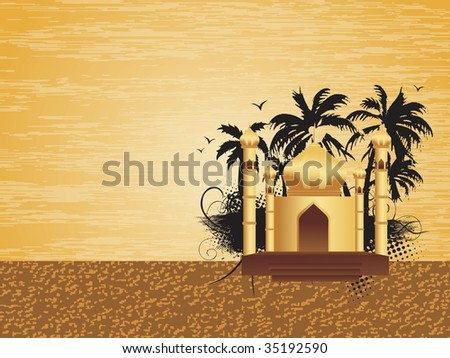 abstract texture background with mosque, tree silhouette - stock vector