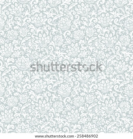 Abstract texture with flowers and leaves. Seamless floral pattern. Vector gray and white  background. - stock vector