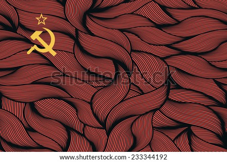 Abstract textured flag of Soviet Union. Vector colorful illustration. - stock vector