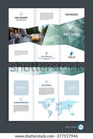 Abstract three fold brochure template, flyer design layout with green polygonal background. Vector illustration.