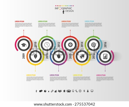 Abstract timeline infographic template. Vector illustration. - stock vector