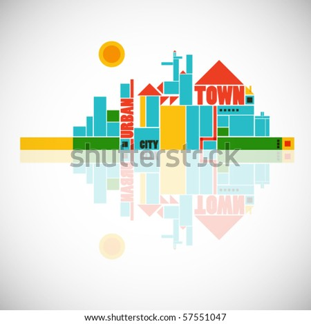 abstract town - geometric compositon - stock vector