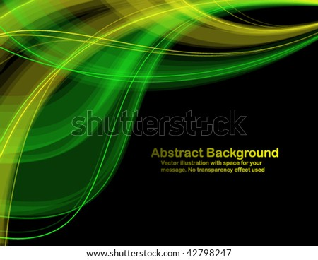 Abstract  transparent waves on black background. Vector illustration in RGB colors. - stock vector