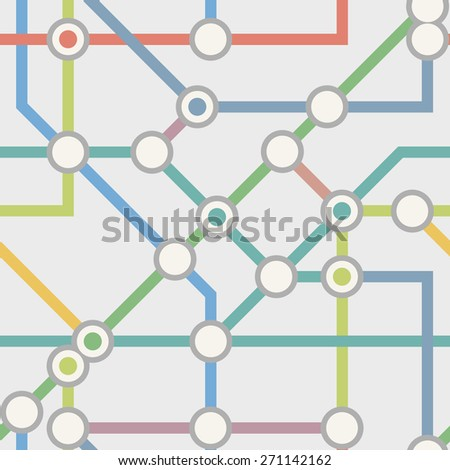 Abstract transport scheme of multicolored straight lines and points - stock vector