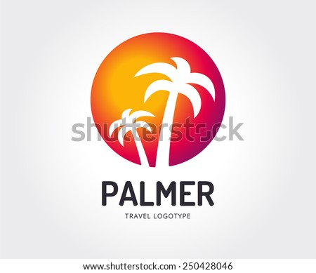 Abstract travel palm vector logo template for branding and design - stock vector