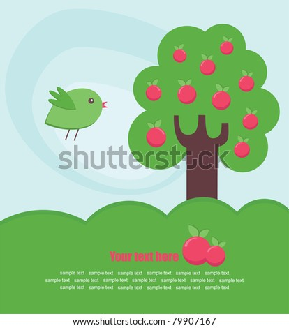abstract tree and bird card design. vector illustration - stock vector